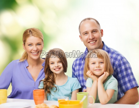 happy family with two kids with