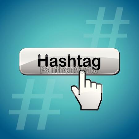 vector hashtag button