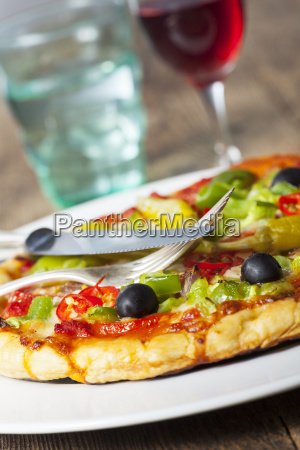 closeup of a pizza with wine