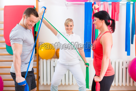 physiotherapists are patient gymnastic exercise