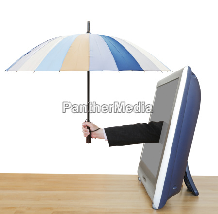 arm with umbrella pops out tv