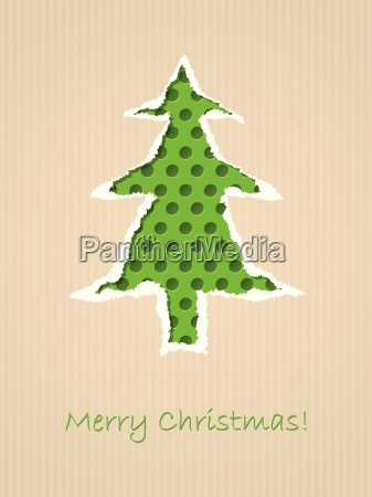 ripped paper christmas card with dotted