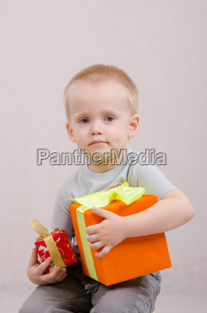year old boy with gifts