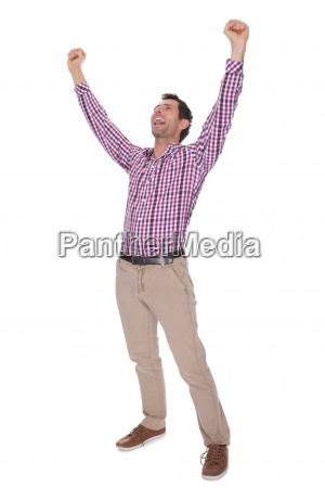 portrait of young man cheering