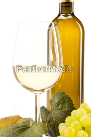 white wine in glass with grapes
