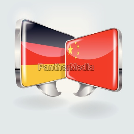 speech bubbles with germany and china