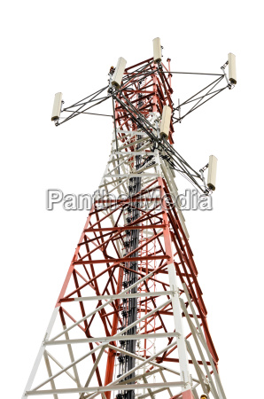 communications tower on white background