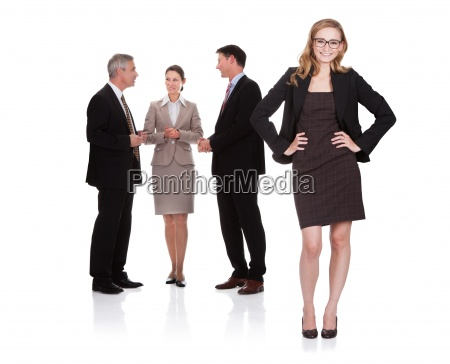 successful businesswoman with her team
