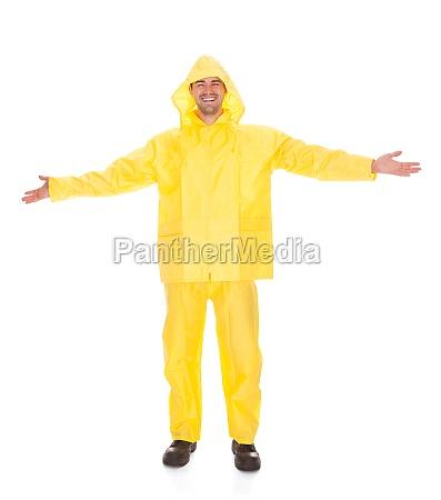 man wearing raincoat