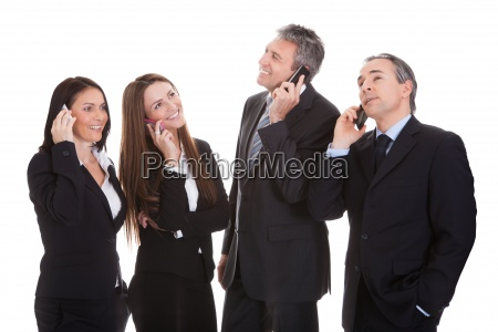 business people talking on cell phone