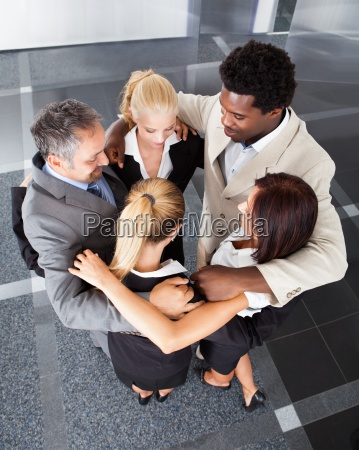 group business people making huddle