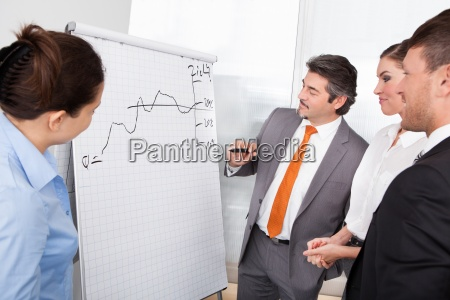 happy businesspeople discussing plan drawn on