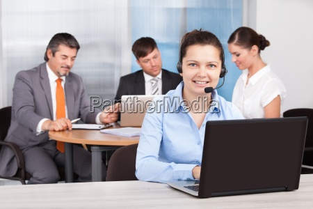 female customer care executive working at