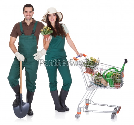 portrait of male and female gardeners