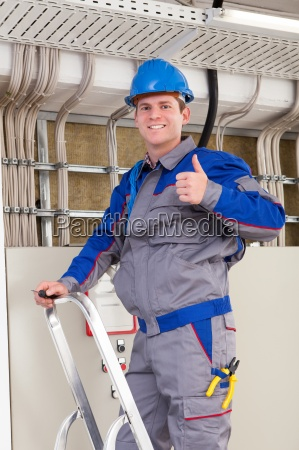 young worker man with hard hat
