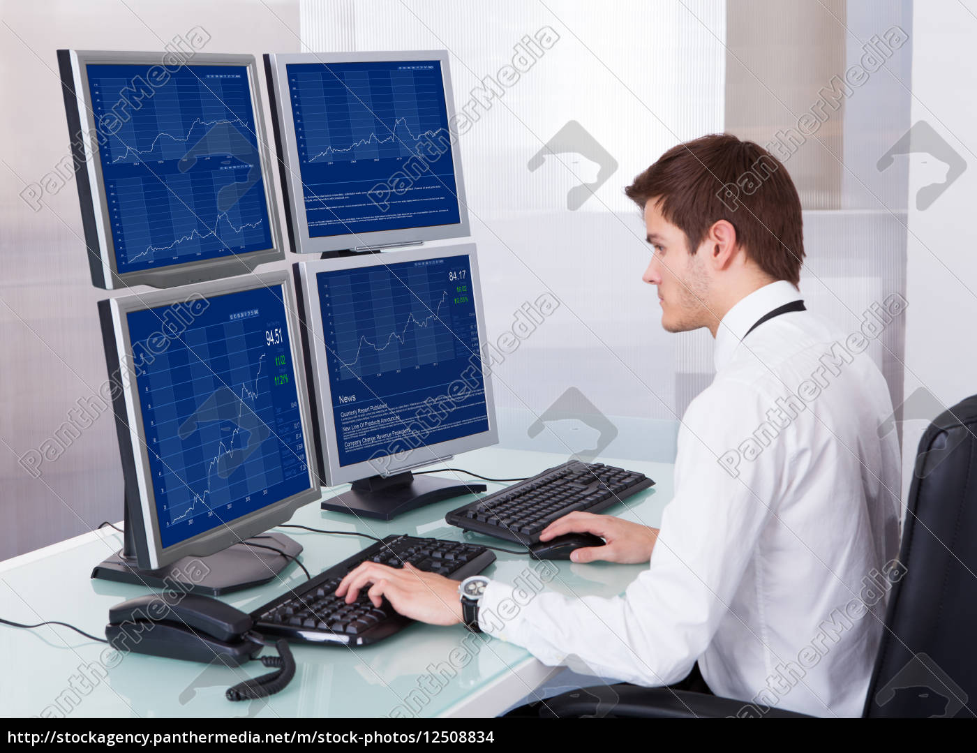 stock, broker, working, at, office - 12508834