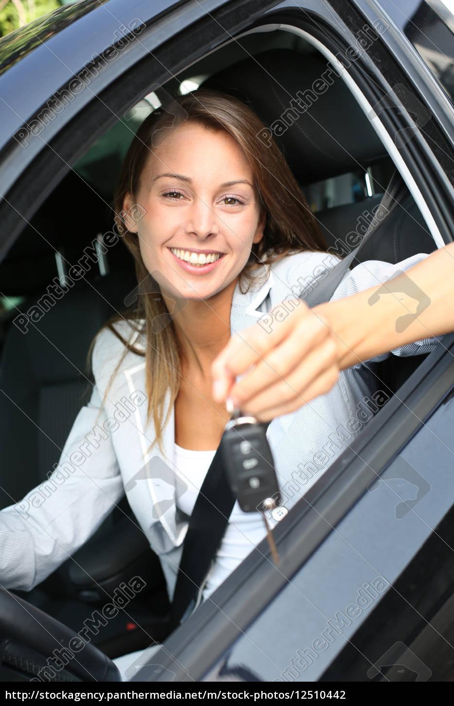 cheerful, girl, holding, car, keys, from - 12510442