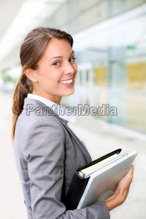 portrait, of, beautiful, businesswoman, standing, outside - 12510878