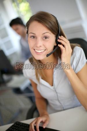 portrait, of, beautiful, customer, service, representative - 12510352