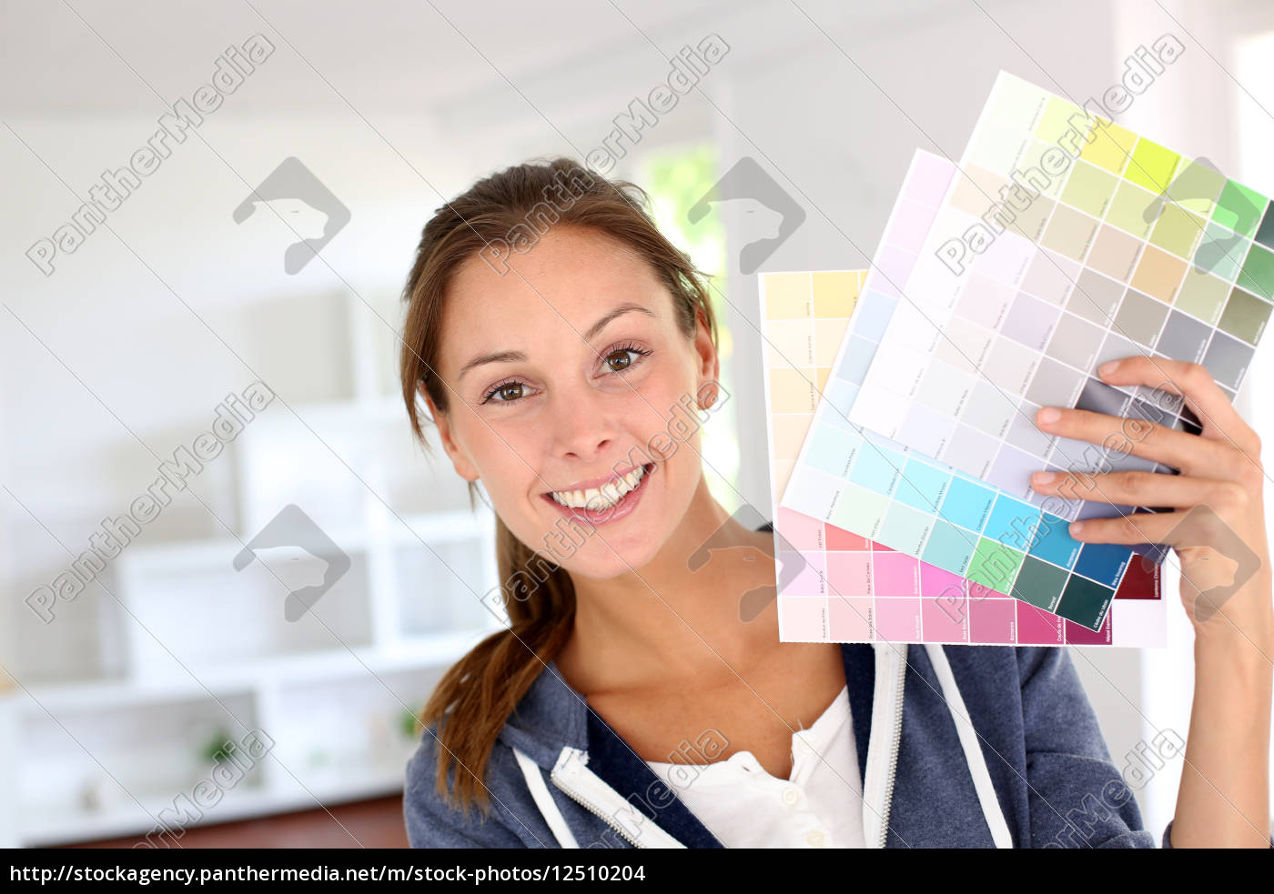 smiling, girl, holding, colour, charts, to - 12510204