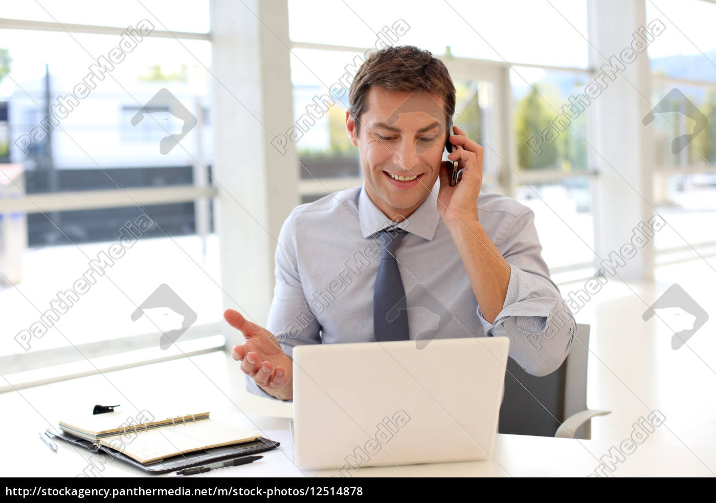 happy, businessman, on, the, phone, in - 12514878
