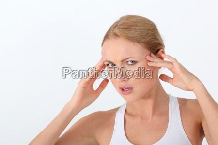 portrait, of, woman, having, a, headache - 12519348