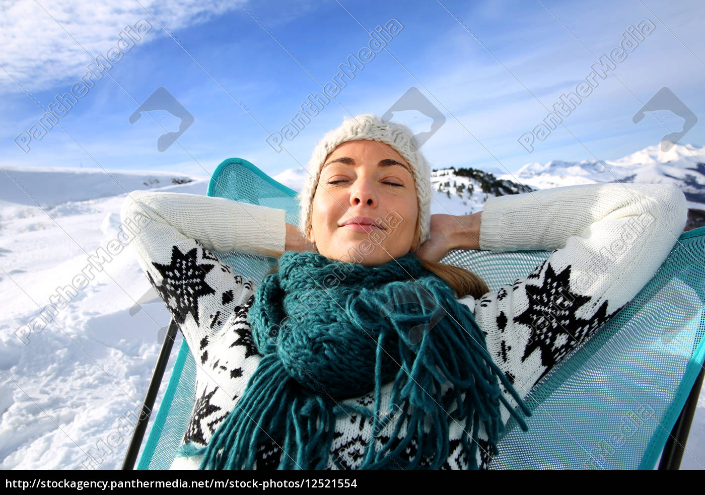 woman, in, ski, resort, relaxing, in - 12521554