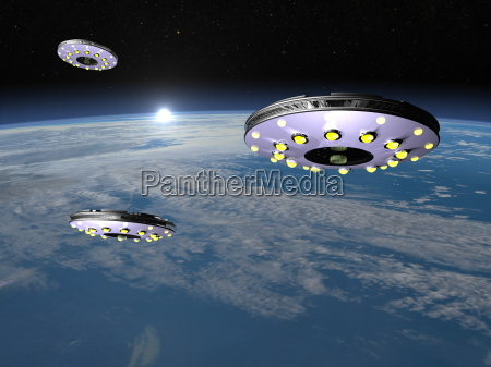 ufos upon earth 3d render