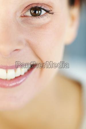 closeup of beautiful womans smile