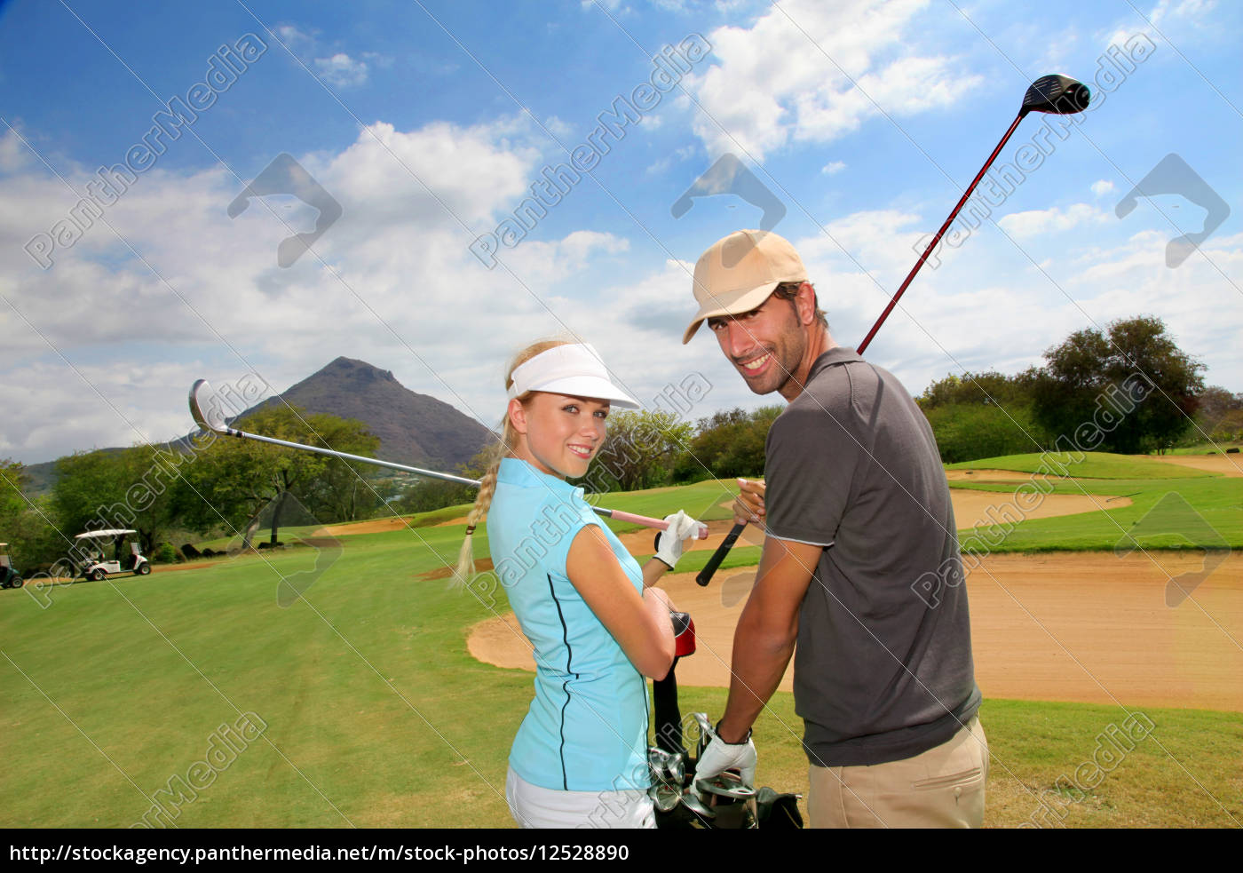 golfers, on, golf, course - 12528890