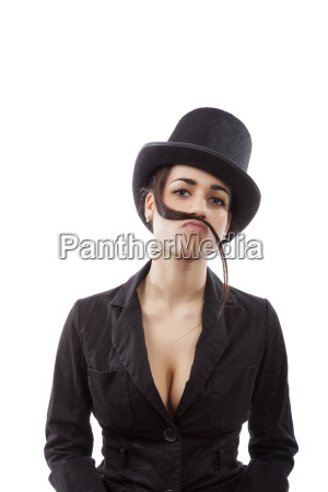 business woman with mustache