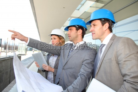 construction, engineers, checking, building, site - 12529916