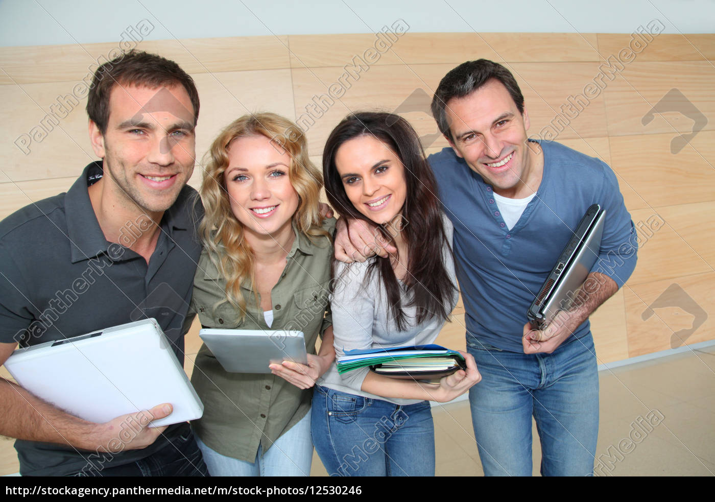 portrait, of, cheerful, students, at, college - 12530246