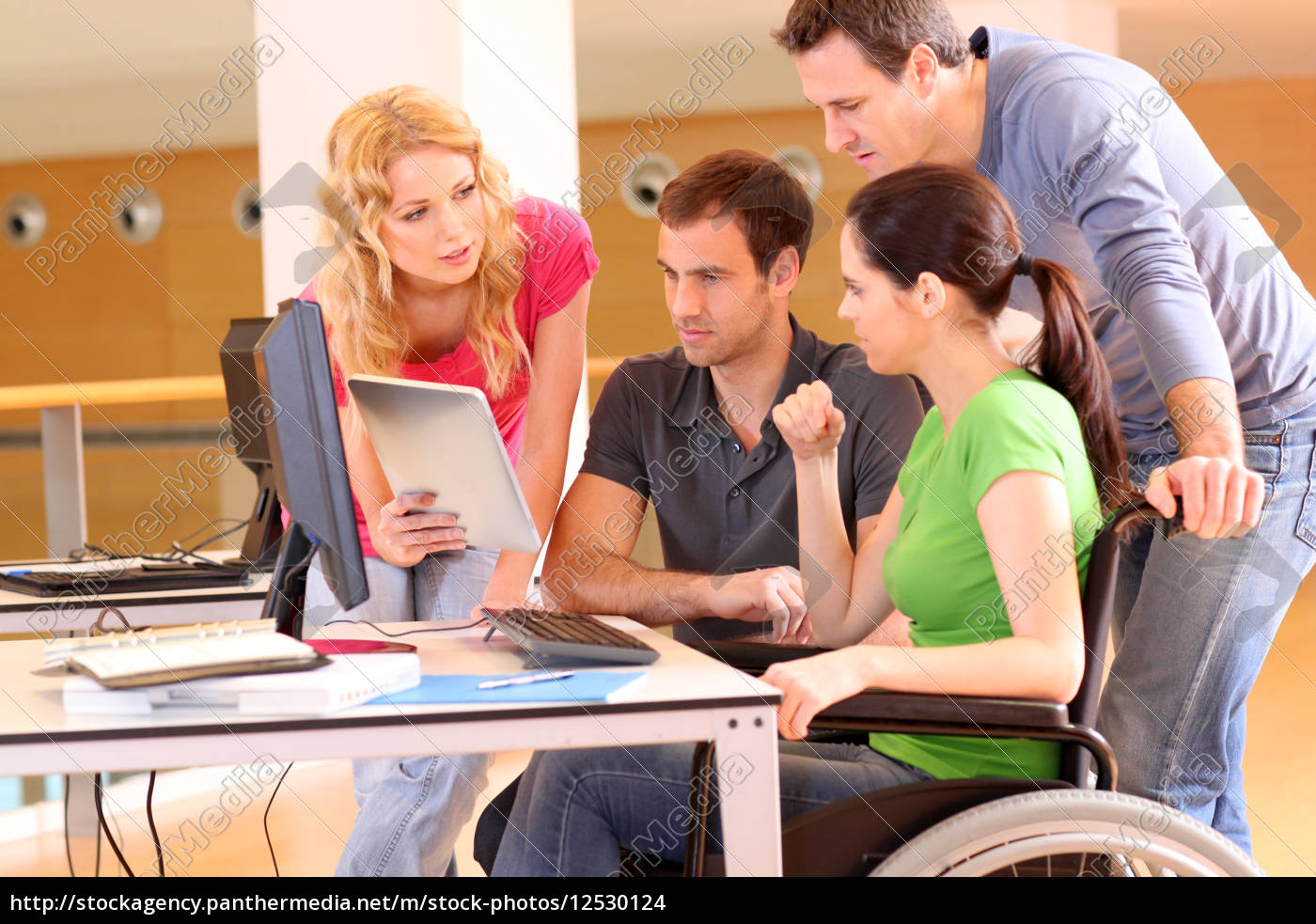 woman, in, wheelchair, attending, group, meeting - 12530124