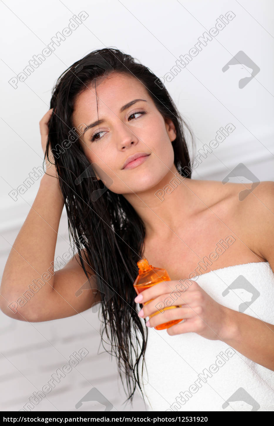 attractive, young, woman, holding, scented, oil - 12531920