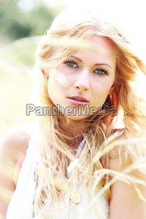 beautiful, blond, girl, in, meadow, - 12531494