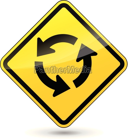 vector roundabout yellow sign