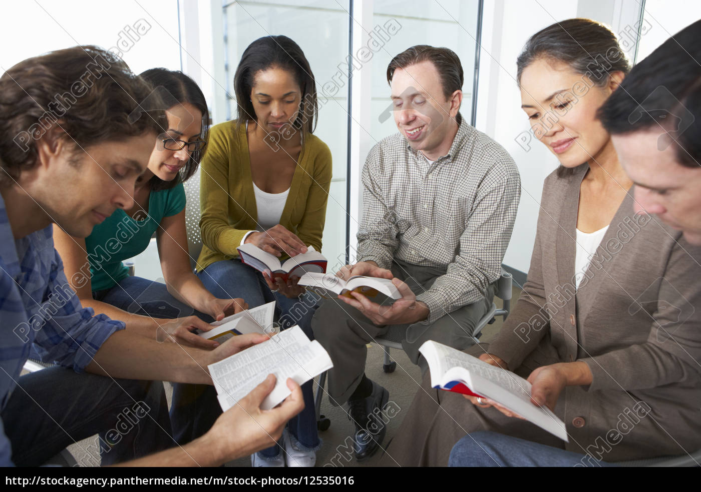 bible, group, reading, together - 12535016