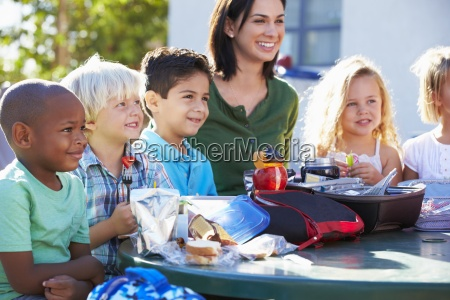 elementary, pupils, and, teacher, eating, lunch - 12535920