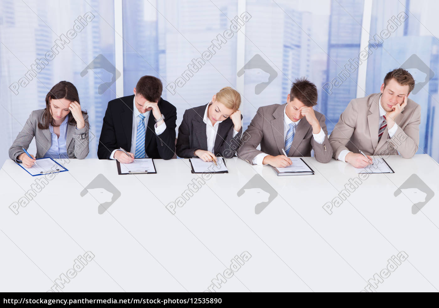 tired, corporate, personnel, officers, at, table - 12535890