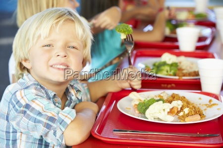 elementary pupils enjoying healthy lunch in