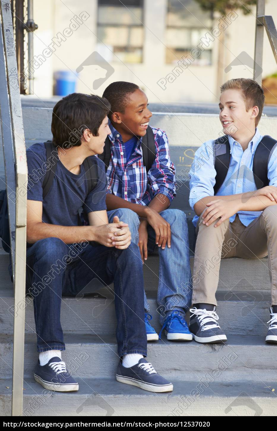 group, of, male, teenage, pupils, outside - 12537020