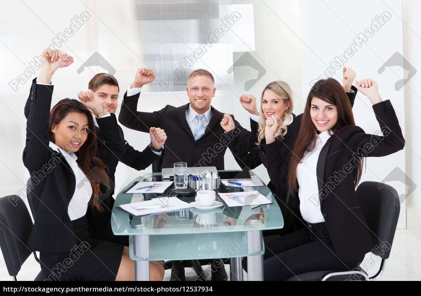successful, business, team, with, arms, raised - 12537934