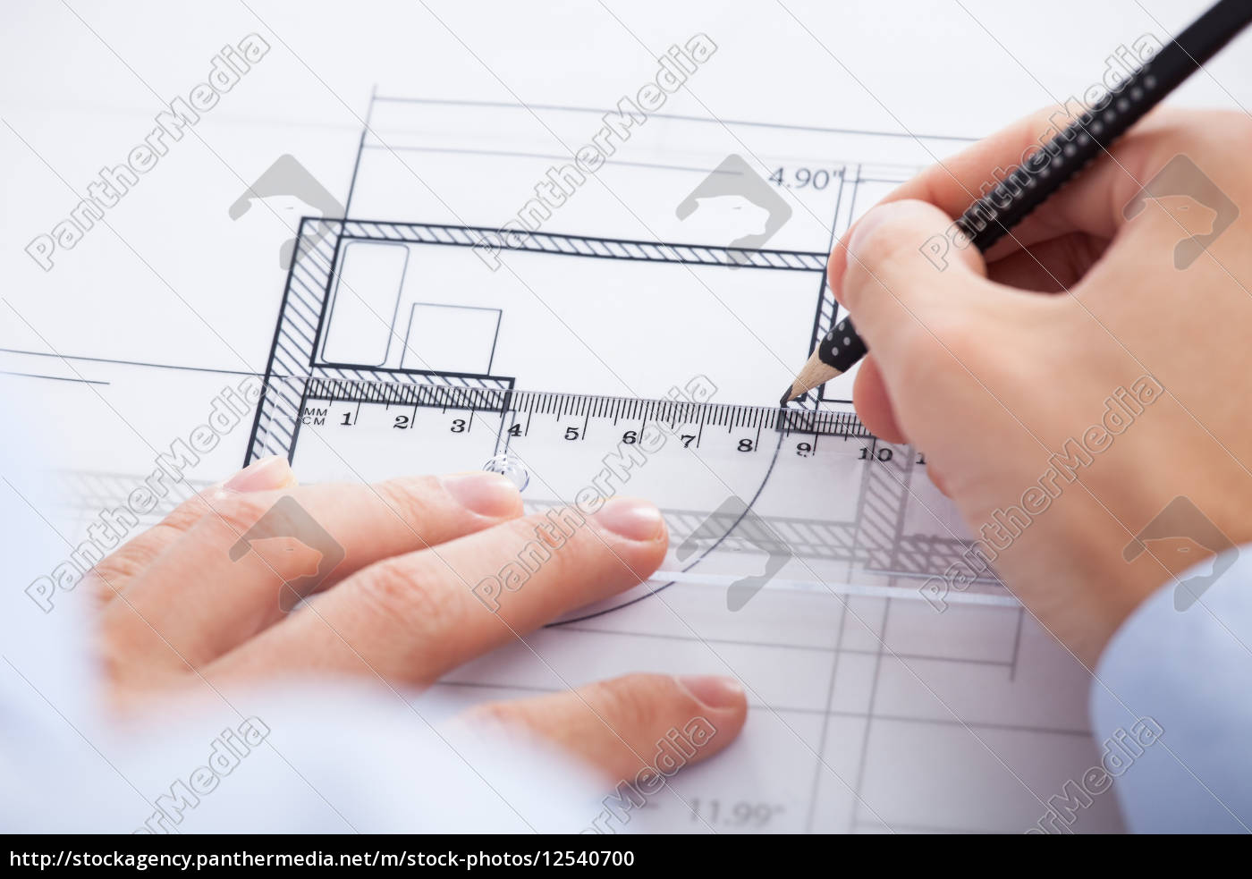 architect's, hands, using, pencil, and, ruler - 12540700