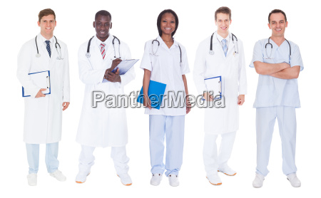 multiethnic doctors over white background