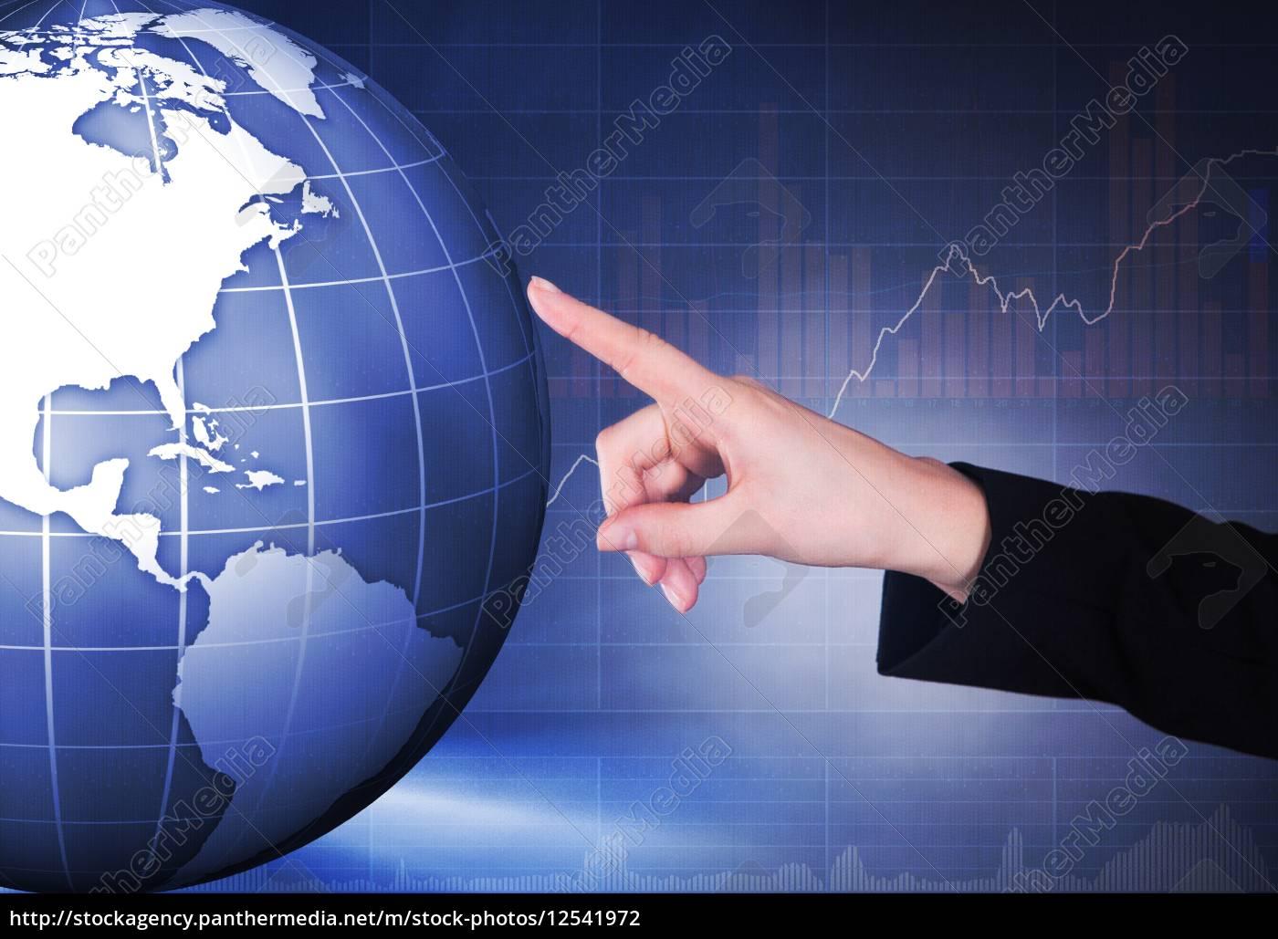 businesswoman, touching, transparent, screen - 12541972