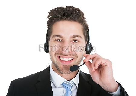 male call center representative wearing headset