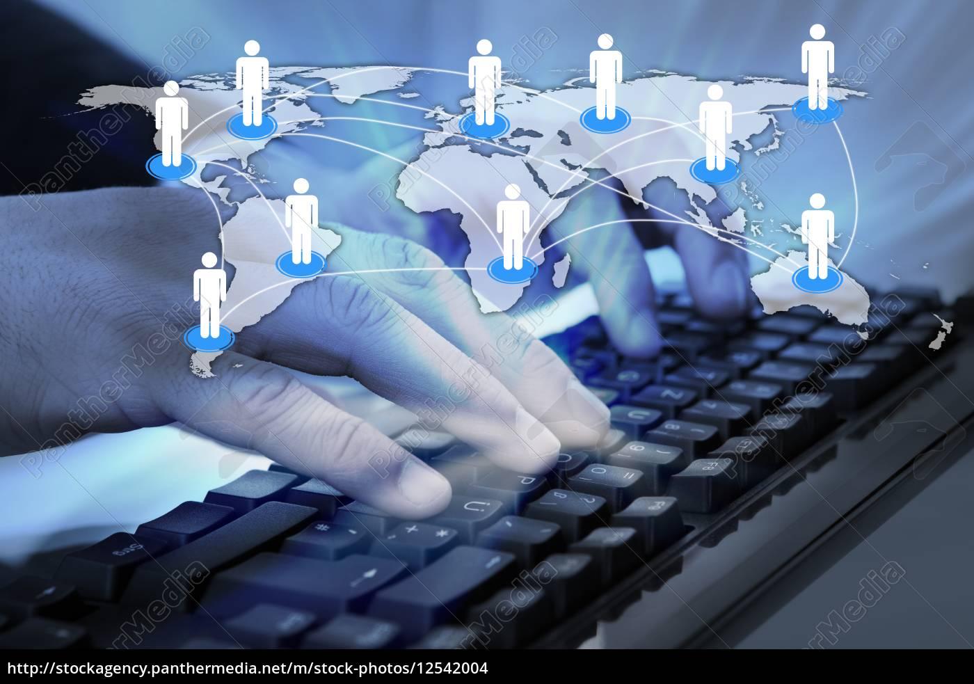businessman, using, computer, keyboard, at, desk - 12542004