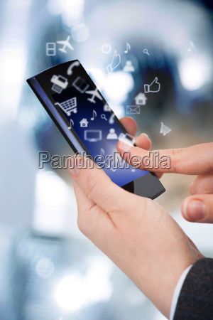 businessman, using, smart, phone, with, various - 12542940