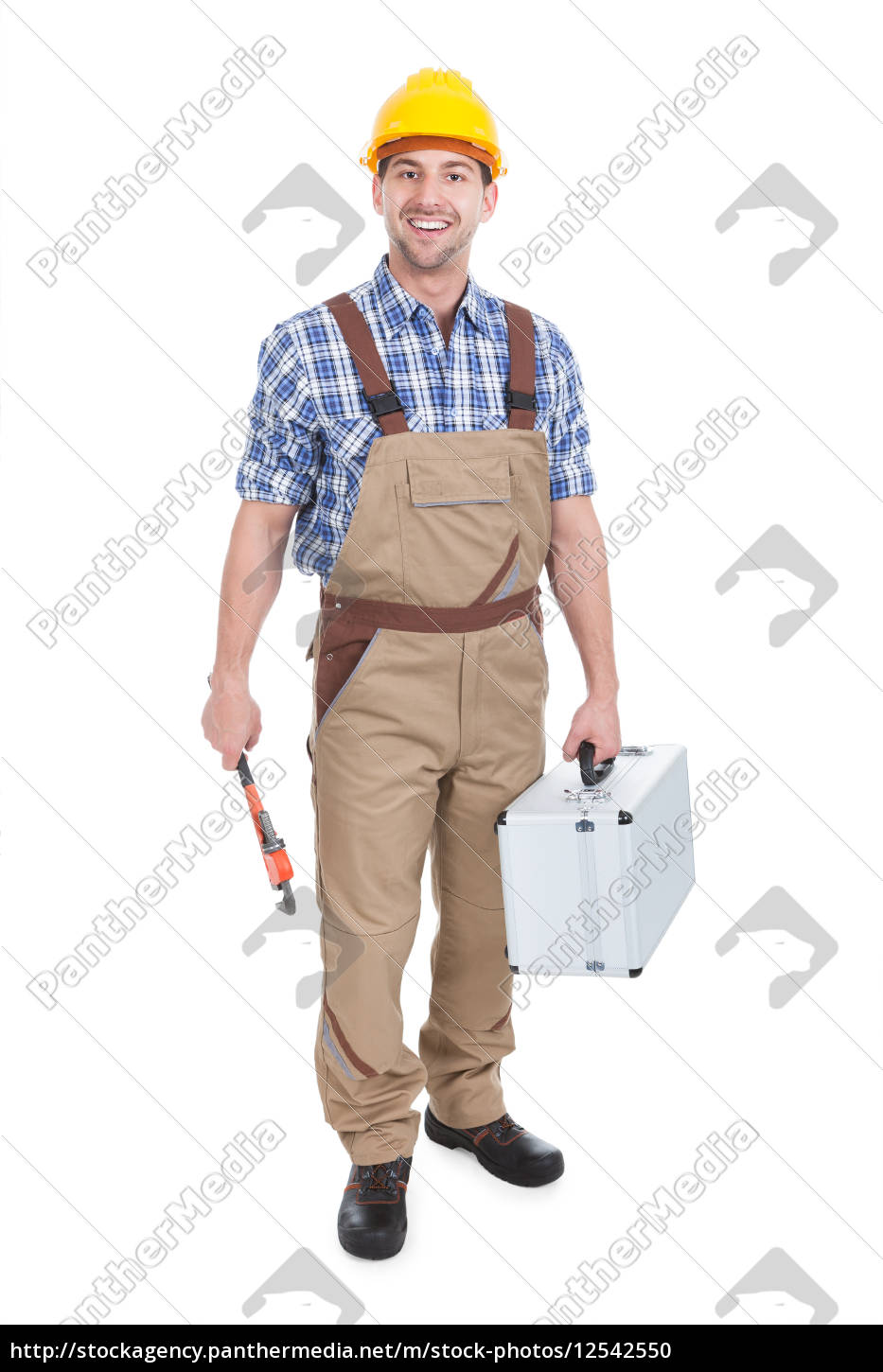 confident, young, male, worker, with, wrench - 12542550